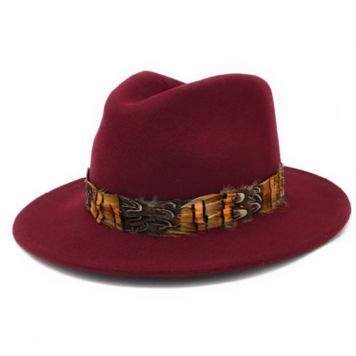 Womens Showerproof Wool Burgundy Fedora Hat with Country Feather Wrap Trim - Mickleton